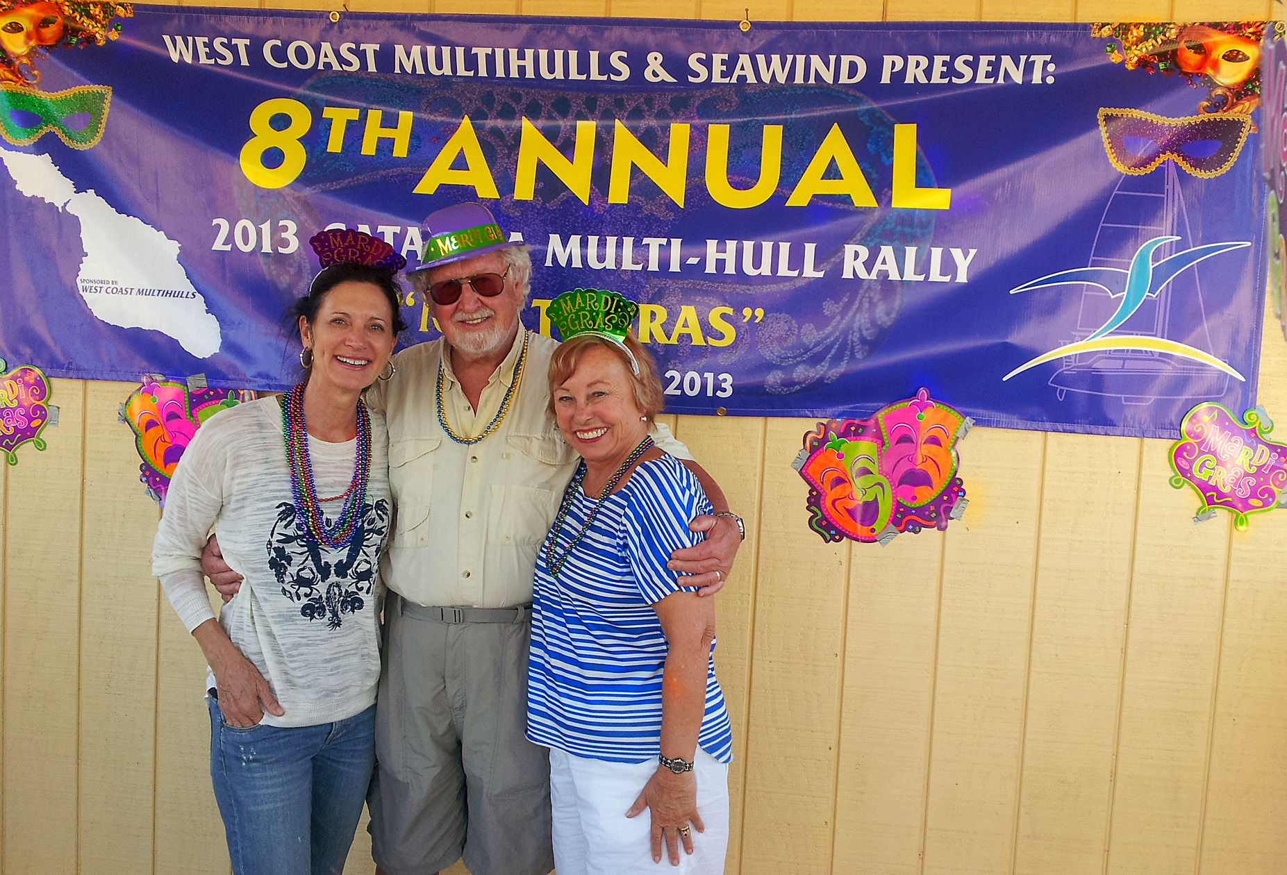 Lori Jerman, Lois Joy Hofmann, and Gunter Hofmann up on the bandstand for the 8th Annual Multihull Rally