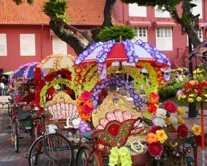 Waiting rickshaws, Melaka, Malaysia