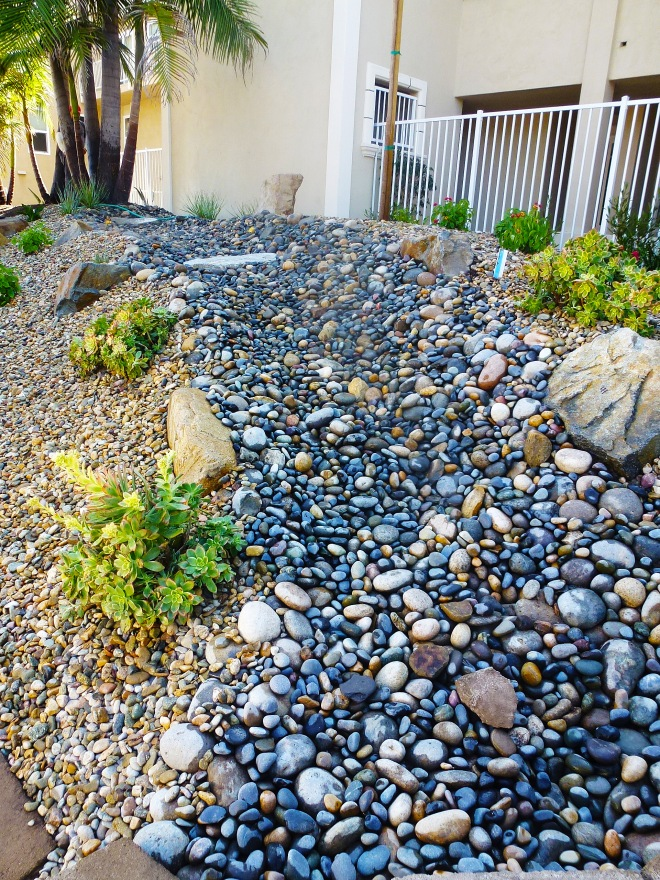 Dry creek using blue stones to contrast with the multicolor landscaping stones