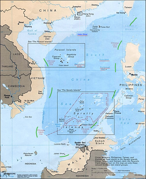 FIGURE 2: The nine-dash line, or tongue, (highlighted in green) of the South China Sea claimed by China but disputed by others.