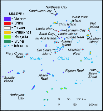 FIGURE 1: Spratly Islands military settlements by countries claiming rights.