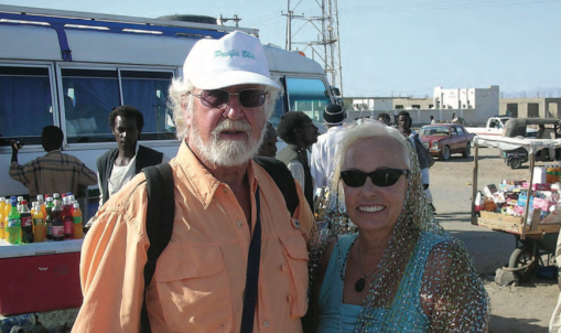 Lois and Günter at the bus stop in Port Sudan