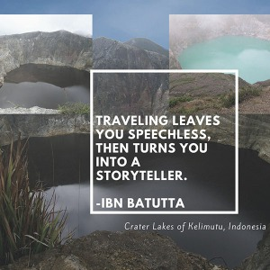 Storyteller, leaves you speechless, Crater Lakes, Kelimutu, Indonesia, The Long Way Back by Lois Joy Hofmann, p 97