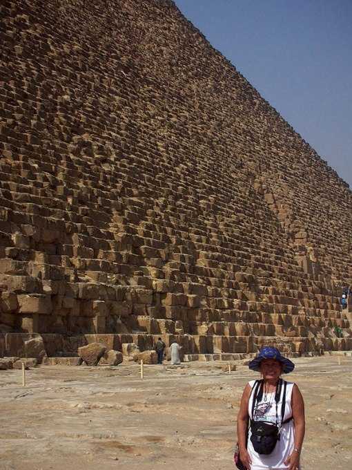 Author Lois Joy Hofmann at the Great Pyramid of Cheops, Egypt. From The Long Way Back