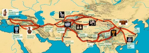 Silk_Road with Samarkand at the crossroads