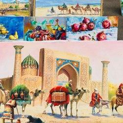 Tashkent painted silk and textiles