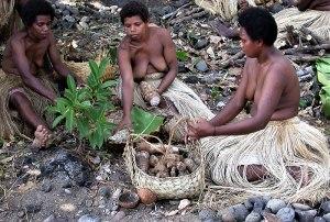 Ni-Vanuatan women demonstrate how to make lap-lap.