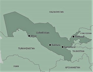 Map of Samarkand and Silk Road Cities