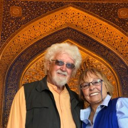 Lois and Gunter inside the mosque Registan Square