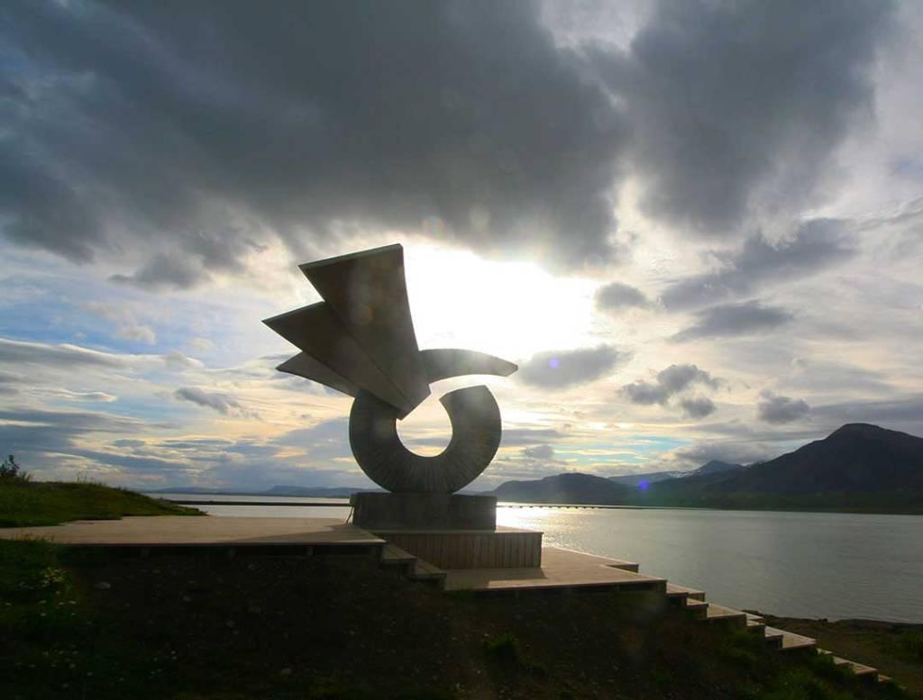 Sculpture in morning light at Borgarnes, Iceland.