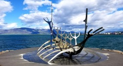 Sun Voyager Sculpture on Faxa Bay in Reykjavik, Iceland