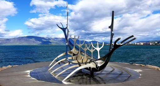 Sun Voyager Sculpture on Faxa Bay in Reykjavik, Iceland