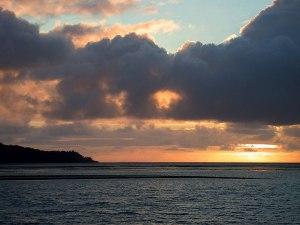 Sunset over reefs of Leleuvia