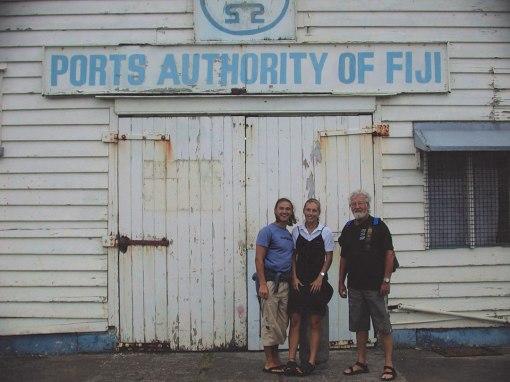 Helmut, Lydia and Gunter at Levuka, Fiji Ports Authority