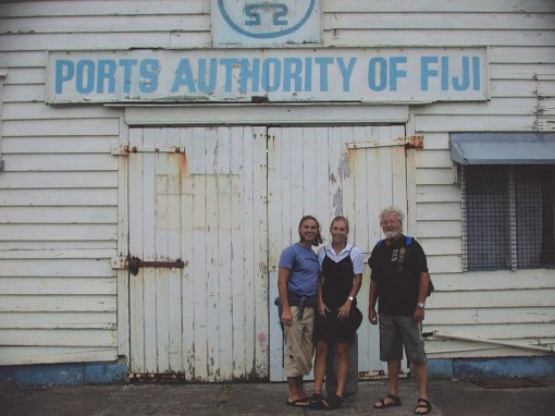 Helmut, Lydia and Gunter at Levuka, Fiji Ports Authority