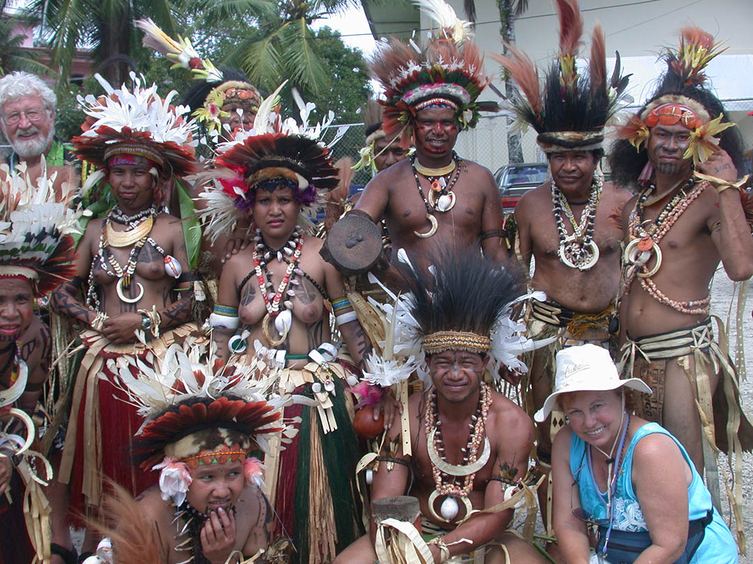 Lois and Gunter with Papua New Guinea Dancers